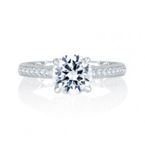 Exquisite Quilted Interior Four Prong Diamond Engagement Ring