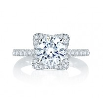 Square Halo with French Round Diamond Center Quilted Engagement Ring