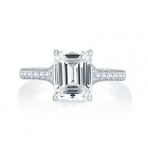 Modern Meets Vintage Micro Pav? Emerald Diamond Center Quilted Engagement Ring