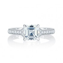 Modern Meets Vintage Micro Pav? Asscher Cut Diamond Center Quilted Engagement Ring