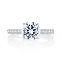 French Pav? Round Center Diamond Quilted Engagement Ring