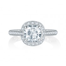 Stunning Four Prong Halo Cushion Cut Diamond Quilted Engagement Ring