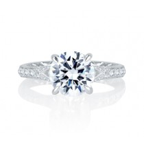 Unique Floral Split Shank Four Prong Round Diamond Quilted Engagement Ring