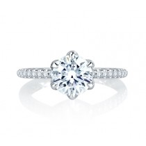 A. Jaffe Floral Inspired Halo Round Diamond Quilted Engagement Ring