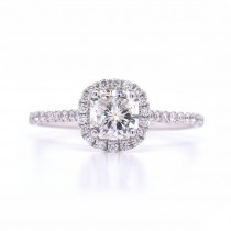 Bridal Rings Company Cushion Diamond Halo Engagement Ring in 18k White Gold
