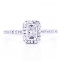 Bridal Rings Company Emerald Cut Halo Diamond Engagement Ring in 18K White Gold