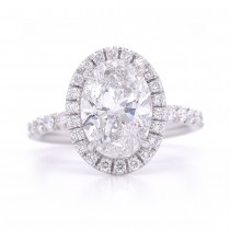 Bridal Rings Company Oval Halo Diamond Engagement Ring in 18K White Gold