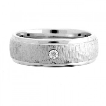 14 KARAT WHITE GOLD GENTS RING with 1 Diamond(s) 0.06ctw