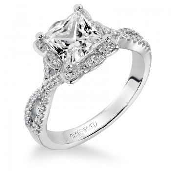 """Leslie"" Diamond Halo Engagement Ring"
