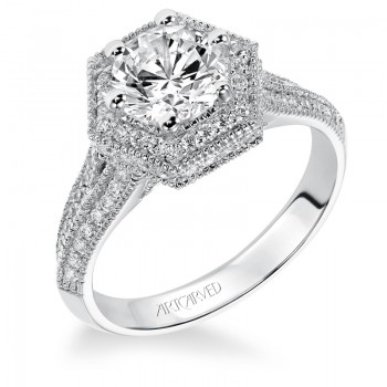 Meredith' Diamond Halo Engagement Ring  - 31-V373FRW-E.00