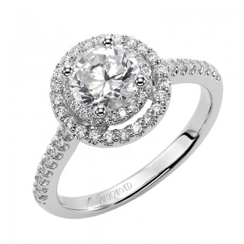Sandy' Diamond Halo Engagement Ring - 31-V380ERW