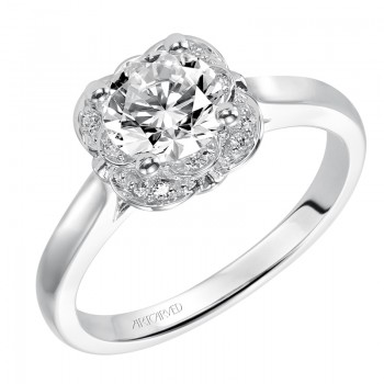 """Adele"" Diamond Halo Engagement Ring"