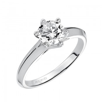 Stacy' Six Prong Solitaire Diamond Engagement Ring With Polished Knife Edge Band  - 31-V402ERW