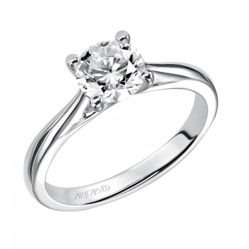 """Lindsey"" Solitaire Diamond Engagement Ring With Polished Band"
