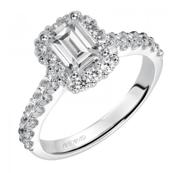 """Genesis"" Emerald Cut Diamond Halo Engagement Ring"