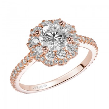 """Priscilla"" Double Halo Diamond Engagement Ring in Rose Gold"