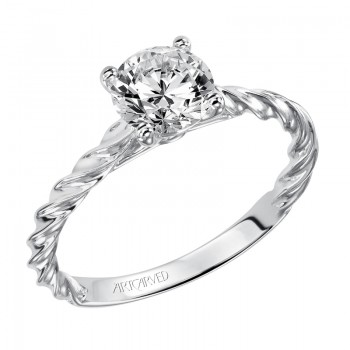 Joanna' Solitaire Diamond Engagement Ring Featuring Delicate Rope Design  - 31-V460ERW-E.00