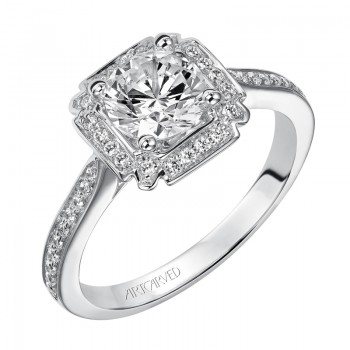 """Rochelle"" Diamond Halo Engagement Ring"