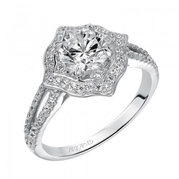 """Marcela"" Diamond Halo Engagement Ring"