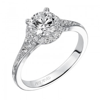 """Farrah"" Diamond Halo Engagement Ring"
