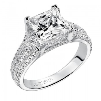 Artcarved 'Harper' Princess Cut Diamond Engagement Ring in 14K White Gold - 31-V504HCW