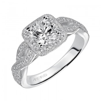 """Lizbeth"" Diamond Halo Engagement Ring"