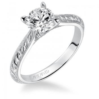 Cherry' Hand Engraved with Milgrain Solitaire Diamond Engagement Ring - 31-V517ERW-E.00