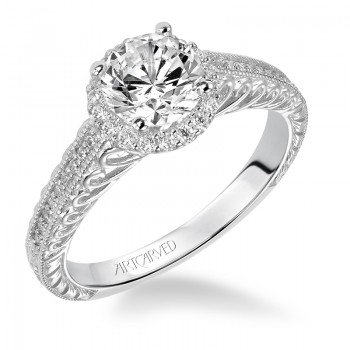 Roseanne' Diamond Halo Engraved Engagement Ring  - 31-V530ERW-E.00
