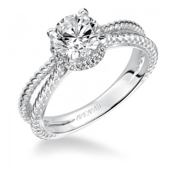 """Serina"" Halo Prong Set Diamond Engagement Ring"