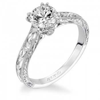 Philomena' Vintage Inspired Solitaire Double 4 Prong Set Diamond Engagement Ring  - 31-V556ERW-E.00