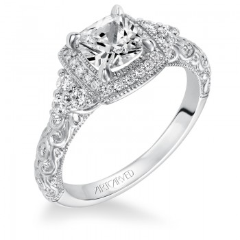 """Alexandra"" Vintage Inspired Diamond Cushion Halo Engagement Ring"