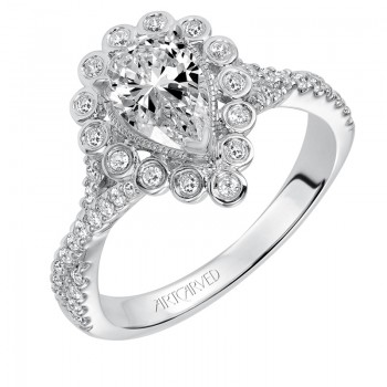 """Genevieve"" Contemporary Diamond Halo Engagement Ring"