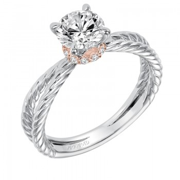 Caitlin' Classic Two Tone Solitaire Diamond Engagement Ring in White Gold  - 31-V569ERR-E.00