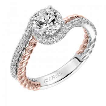Nina' Contemporary Two Tone Halo Bypass Diamond Engagement Ring in White Gold - 31-V573ERR-E.00