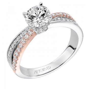 """Mimi"" Classic Two Tone Prong Set Diamond Engagement Ring in White Gold"