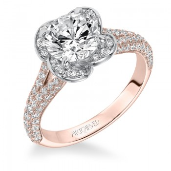 """Katalina"" Contemporary Two Tone Diamond Engagement Ring in Rose Gold"