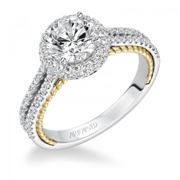 Emmeline' Diamond Prong Set Halo Engagement Ring  - 31-V585FRA-E.00