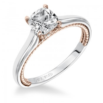 Cameron' Diamond Two Tone Solitaire with Surprise Diamonds and Rope Detail Engagement Ring - 31-V589FUR-E.00