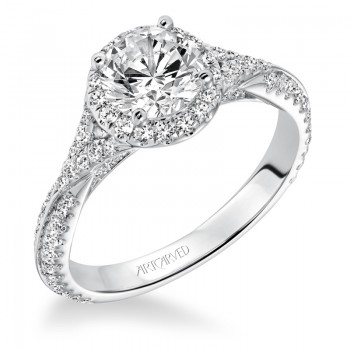 """Liana"" Prong Set Halo Engagement Ring"