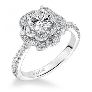 """Sabrina"" Contemporary Diamond Floral Halo Engagement Ring"