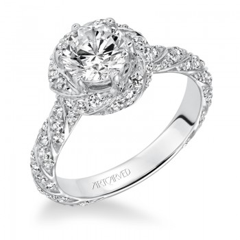 """Bailey"" Twisted Halo Diamond Engagement Ring"