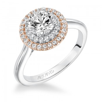 """Morgan"" Double Halo Diamond Engagement Ring"