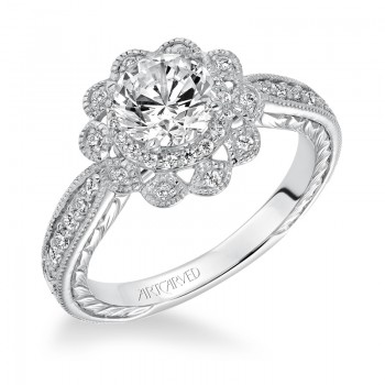 """Primrose"" Halo Hand Engraved Diamond Engagement Ring"