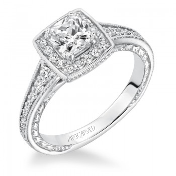 """""""Millicent"""" Hand Engraved Diamond Halo Engagement Ring"""