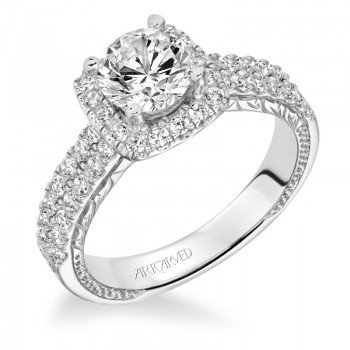 """Eugenie"" Halo Hand Engraved Diamond Engagement Ring"