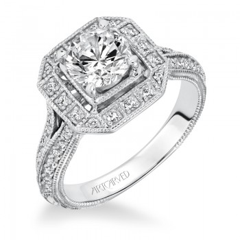 """Delphine"" Halo Hand Engraved Diamond Engagement Ring"