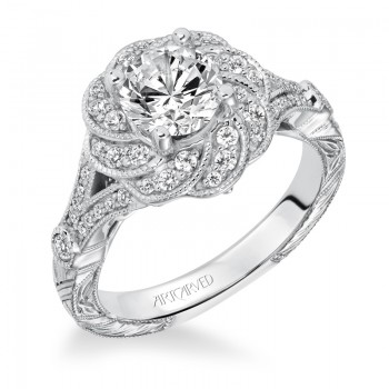 """Matilda"" Halo Hand Engraved Diamond Engagement Ring"