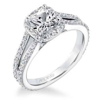 Evangeline' Classic Diamond Halo Engagement Ring  - 31-V646EUW