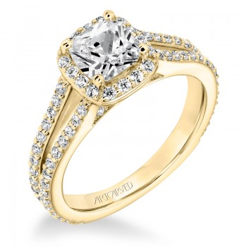 Evangeline' Classic Diamond Halo Engagement Ring  - 31-V646EUY