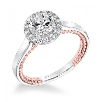"""Winnie"" Contemporary Diamond Halo Engagement Ring with Rose Gold"